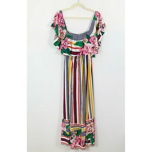 Flying Tomato Stripe Floral Ruffle Maxi Dress